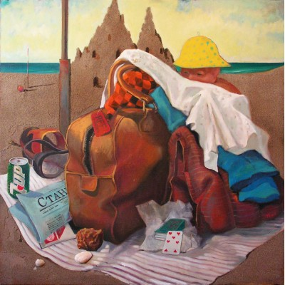 Baggage, oil on canvas, 100 x 100 cm, by T. Ignatov