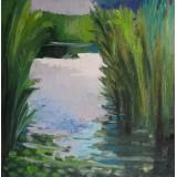 Lake Prespa, oil on canvas, 50 x 50 cm, by T. Ignatov