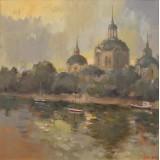 Along the Danube, oil on canvas, 35 x 35 cm, by T. Ignatov
