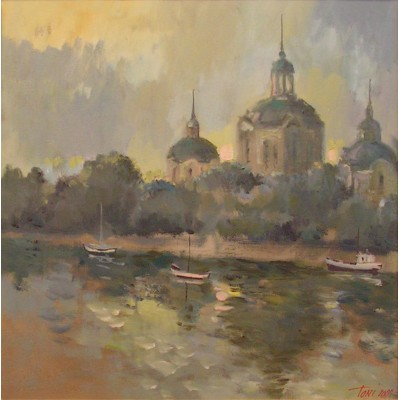 Along the Danube, oil on canvas, 35 x 35 cm, by T. Ignatov