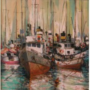 A Port, oil on canvas, 30 x 30 cm, by Todor Ignatov - Tony