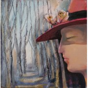 Lady with a Butterfly, oil on board, 25 x 25 cm, by T. Ignatov