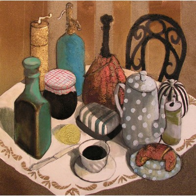 French Breakfast, oil on canvas, 70 x 70 cm, by T. Ignatov