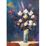 Flowers, oil on canvas, 50 x 35 cm, by T. Ignatov